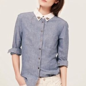 LOFT Chambray Embellished Collar Button Down Sz S
